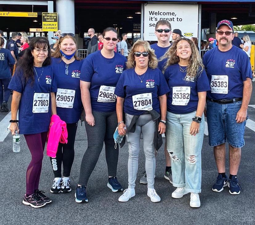 The P.V.F.D. team that ran from Brooklyn to Manhattan through the Brooklyn Battery Tunnel (L to R), EMS Lieutenant/EMT  Kathy Hickman, Christine Artuz, EMS Lieutenant/EMT Mindy Robinson, EMS Lieutenant/EMT  Barbara Oakes, Firefighter Jack Blanch, Firefighter Martina Meyer and Engine Lieutenant Jay Meyer.